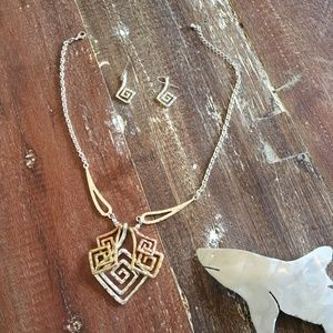 costume jewelry necklace earrings rose gold silver